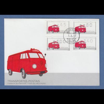 Portugal 1995 ATM VW-Rettungswagen Mi-Nr.12 Satz 45-80-100-140 Brief 19.4.96