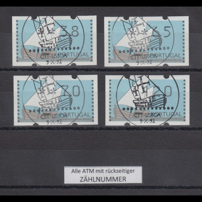 Portugal 1995 ATM Karavelle Mi.-Nr. 5 Satz 38-65-70-120 mit ET-So-O, alle mit ZN