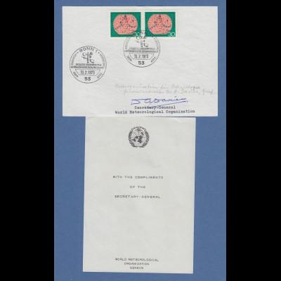 D. A. Davies Secretary-General World Meterological Org. original-Autogramm 1973