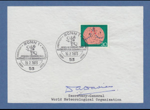 Dr. Davies Secretary-General World Meterological Org. original-Autogramm 1973