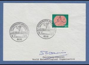 Dr. D. Davies Secretary-General World Meterological Org. original-Autogramm 1973