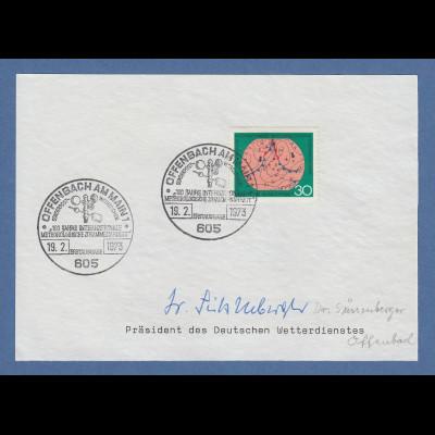 Erich Süßenberger Präsident des Deutschen Wetterdienstes original-Autogramm 1973