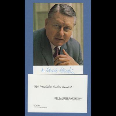 Dr. Lauritz Lauritzen Bundesminister für Verkehr original-Autogramm auf Foto