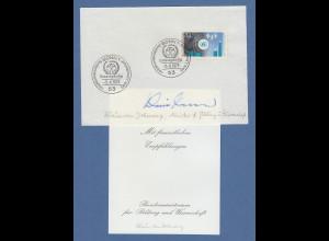 Klaus Dohnanyi Bundesminister für Bildung & Wissenschaft original-Autogramm 1973