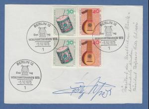 Fritz Schieri Präsident der Hochschule für Musik München original-Autogramm 1973