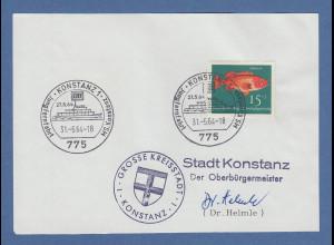 Bruno Helmle Oberbürgermeister von Konstanz original-Autogramm 1964
