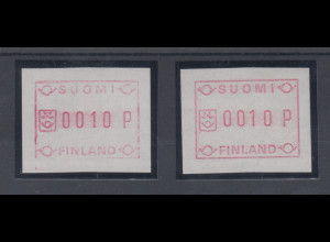 Finnland 1982 FRAMA-ATM Mi.-Nr. 1, weißes Test-Papier, schmale und breite Zahlen
