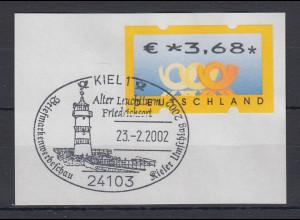 Bund ATM Posthorn Wert € 3,68 Euro auf Briefstück mit So.-O KIEL Leuchtturm