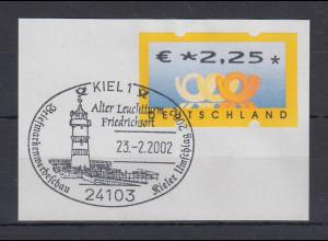Bund ATM Posthorn Wert € 2,25 Euro auf Briefstück mit So.-O KIEL Leuchtturm