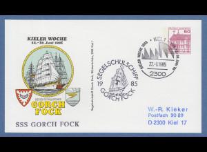 KIELER WOCHE 1985, 60Pfg-Privatganzsache Segelschiff Gorch Fock mit So.-Stempel