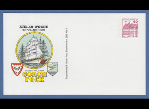 KIELER WOCHE 1985, 60Pfg-Privatganzsache Segelschiff Gorch Fock ungebraucht
