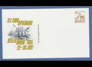 KIELER WOCHE 1985, 30Pfg-Privatganzsache Segelschiff Thor Heyerdahl ungebraucht