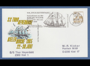 KIELER WOCHE 1985, 30Pfg-Privatganzsache Segelschiff Thor Heyerdahl mit Sonder-O