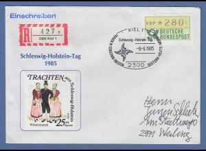KIEL, Sonder-Stempel 6.6.85 FRAUEN IN SCHLESWIG-HOLSTEIN auf R-Brief mit ATM 280