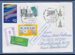 Kieler Woche 2001 R-Brief mit Freimarken SWK und ATM gelaufen nach Neuseeland