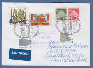 Bund 2001 Lp-Brief mit Sonder-O FLENSBURG Tag des Bieres gel. nach Neuseeland