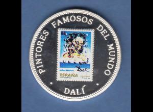 Äquatorial-Guinea 1994 Münze 7000 FR. Salvador Dalí coloriert Silber 999