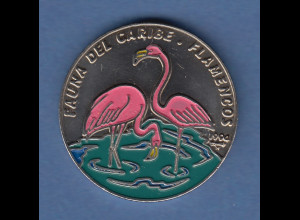 Kuba / Cuba 1994 Münze 1 Peso Flamingos coloriert Kupfer-Nickel