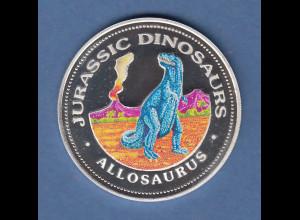 Äquatorial-Guinea 1993 Münze 7000 FR Dinosaurier Allosaurus coloriert Silber 999
