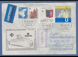 """Bund 2002 Lp-Brief nach NZL , Cachet-O Aufschwimmen U-Boot """"U31"""" Tages-O KIEL"""