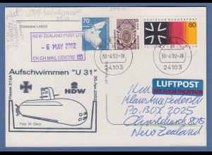 Bund 30.4.2002 Lp-Karte nach NZL , Cachet-O Aufschwimmen U-Boot U31, Motiv Laboe