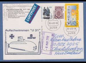 Bund 30.4.2002 Lp-Karte nach NZL , Cachet-O Aufschwimmen U-Boot U31 Motiv U-Boot