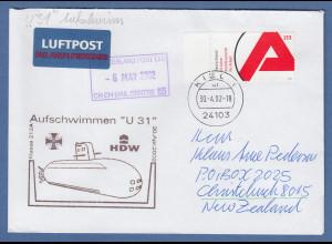Bund 30.4.2002 Lp-Brief nach NZL mit Cachet-O Aufschwimmen U-Boot U31 Mi-Nr 2249