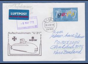 Bund 30.4.2002 Lp-Brief nach NZL mit Cachet-O Aufschwimmen U-Boot U31 Mi-Nr 2281
