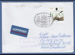 Bund 2002 ILIAS selbstklebend Mi-Nr 2251 als EF auf Brief -> NZL, So.-O Mannheim