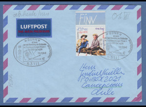 Bund 2001 Lp-Brief nach Chile mit EF Mi.-Nr. 2194 So.-O BONN EURO-Briefmarken