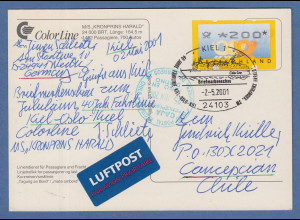 Bund ATM 3. Ausgabe Wert 200 Pfg auf LP-Karte nach Chile Sonder-O KIEL 2.5.2001