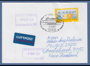 Bund ATM 3. Ausgabe Wert 300 Pfg auf Lp-Brief -> NZL Sonder-O KIEL 2.5.2001