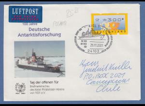 Bund ATM 3. Ausgabe Wert 300 Pfg auf Lp-Brief -> Chile Sonder-O KIEL 25.11.2001