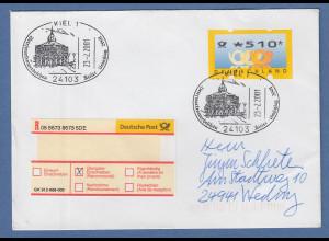 Bund ATM 3. Ausgabe Wert 510 Pfg auf R-Brief mit Sonder-O KIEL 23.2.2001