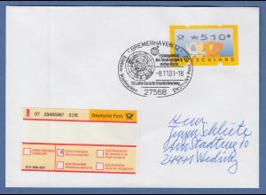 Bund ATM 3. Ausgabe Wert 510 Pfg auf R-Brief mit Sonder-O BREMERHAVEN 2001