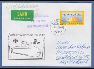 Bund ATM 4. Ausgabe Wert 1,12 € auf Brief n.NZL Cachet Aufschwimmen U31 U-Boot