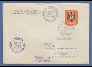 Berlin 1956 Bundesrat Mi.-Nr. 137 als EF auf Ausl.-Drucks. n. Bulgarien mit KLM