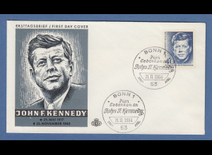 US-Präsident John F. Kennedy Bund Gedenkmarke Mi.-Nr. 453 auf FDC 21.11.1964