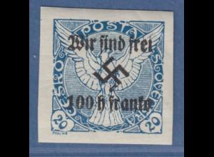 Sudetenland Rumburg Zeitungsmarke mit Aufdruck 100h Mi.-Nr. 20 * einwandfrei