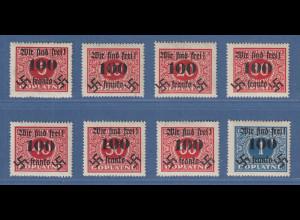 Sudetenland Rumburg Portomarken mit Aufdruck 100h Mi.-Nr. 36-43 Satz sauber *