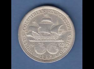 USA 1893 Kolumbus-Weltausstellung Gedenkmünze 1/2 Dollar Silber