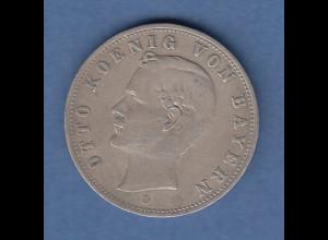 Bayern König Otto Silbermünze 2 Mark D 1907 Sehr schön !