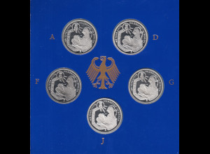 Bundesrepublik 10DM Münze 1998: Hildegard von Bingen Satz ADFGJ PP im Folder