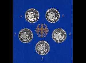 Bundesrepublik 10DM Münze 1998: Westfälischer Friede Satz ADFGJ PP im Folder
