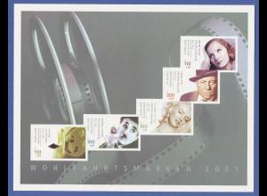 Bundesrepublik Filmschauspieler-Markenheft 2001 mit Mi.-Nr. 2218-2222 C MH 46 **