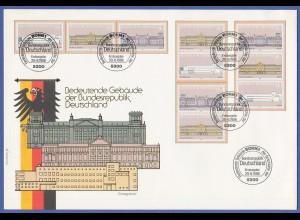 Bundesrepublik 1986 Einzelmarken Mi.-Nr. 1287-89 und ZSD aus Block 20 auf FDC