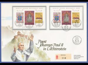 Liechtenstein, 1985 Papst-Besuch Johannes Paul II. R-FDC-Brief mit 2x Block 12