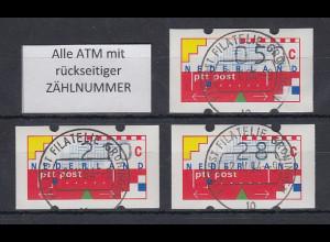 Niederlande Klüssendorf-ATM Mi.-Nr. 1 Versandstellen-Satz VS6 50-210-280 ET-O ZN