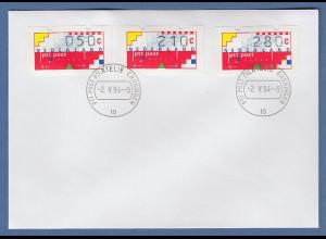 Niederlande Klüssendorf-ATM Mi.-Nr. 1 Versandstellen-Satz VS6 50-210-280 auf FDC