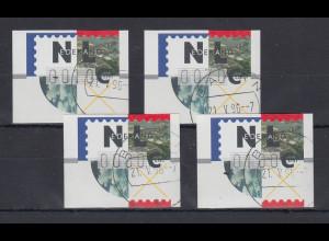Niederlande ATM Mi.-Nr. 2.1 Typ FRAMA Satz 10-70-80-100 mit ET-O BAARN